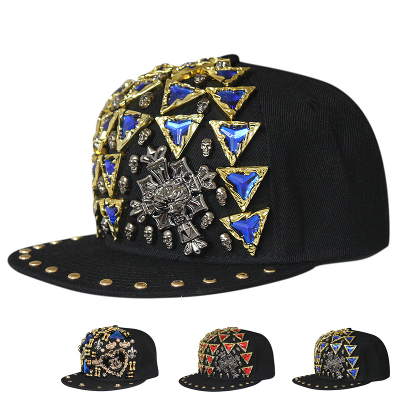 Optional letter european and american punk triangle gem handmade kito rivet flat brimmed hat hip hop hip-hop cap baseball cap influx of people