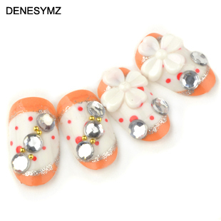 Orange polka dot nail tools nail japanese bride false nails patch a piece of french round