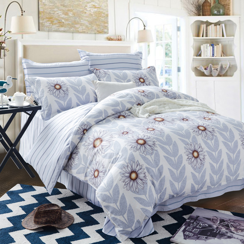 Orchid flower cotton twill denim four sets of pastoral style fresh korean textile cotton bedding a family of four