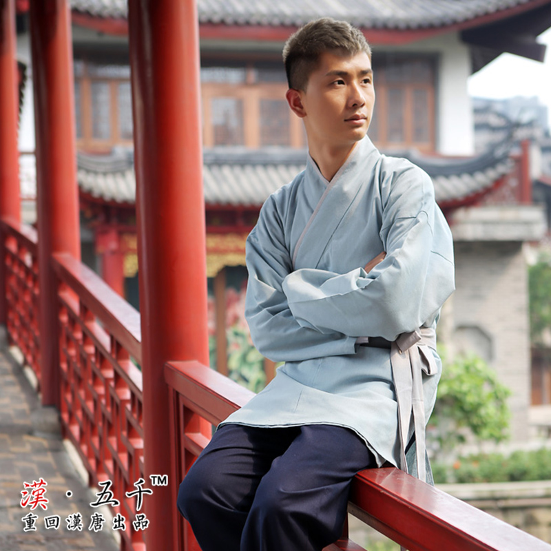 Original brand back to the han and tang han chinese clothing men's light blue cotton set daily bunt caftan brown male han chinese clothing
