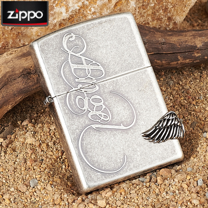 Original genuine zippo lighters ancient silver angel wing wings windproof lighters genuine zoppo
