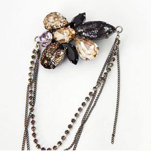 Original korean fashion boutique chain diamond crystal diamond brooch brooch wild rhinestone chest black and gold