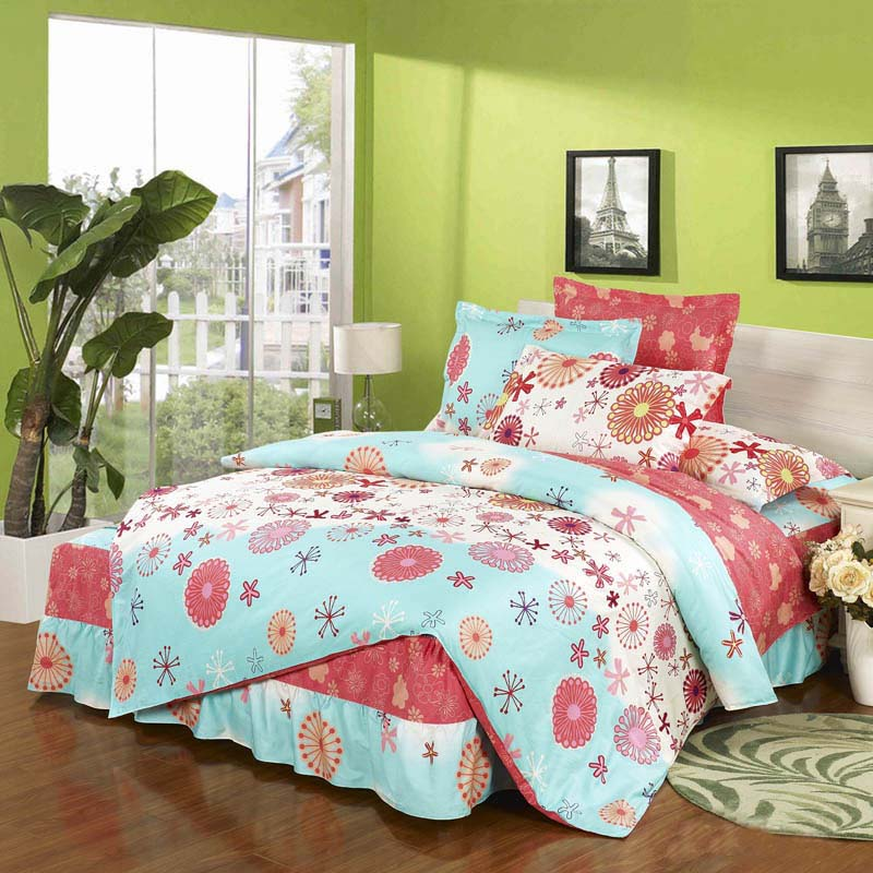 Originated from amoy textile cotton denim bed skirt princess wedding twill bedding a family of four sets of 4