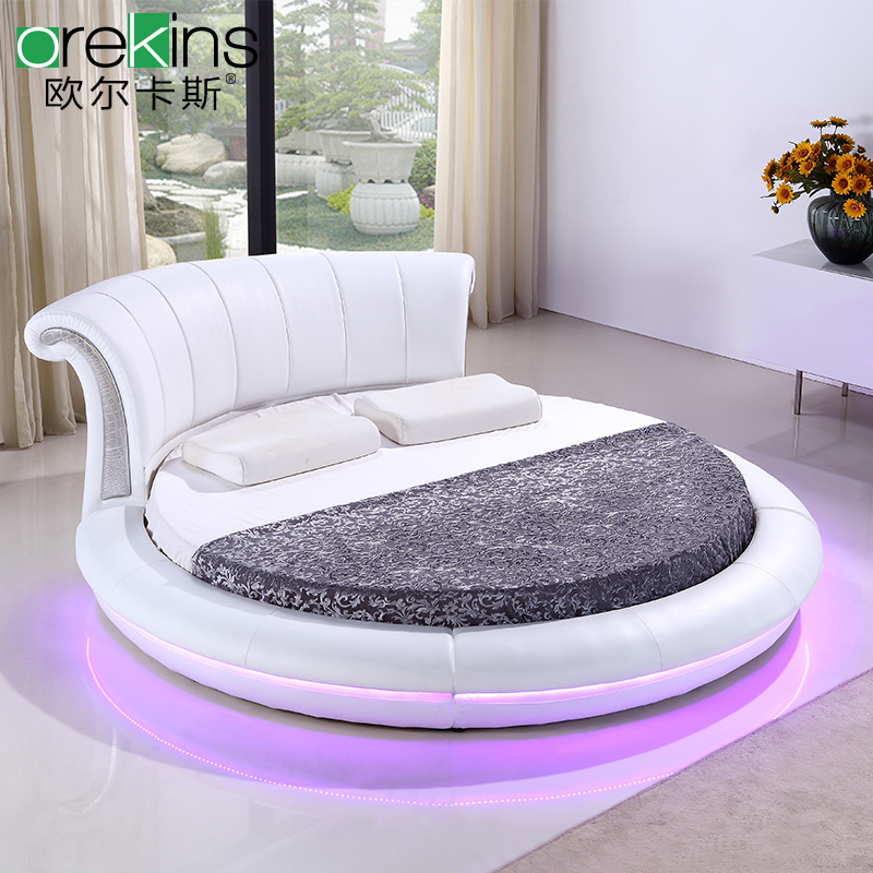 Orr fidel european led lights round white leather bed double bed fashion princess bed marriage bed soft bed