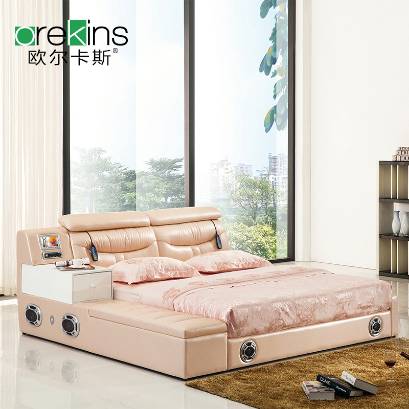 Orr fidel size apartment minimalist modern leather bed tatami bed storage sound massage bed continental bed
