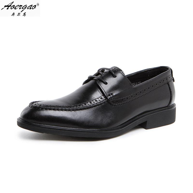 Orr high fashion british style pointed shoes european version of the leather men's business dress shoes to help low men shoes