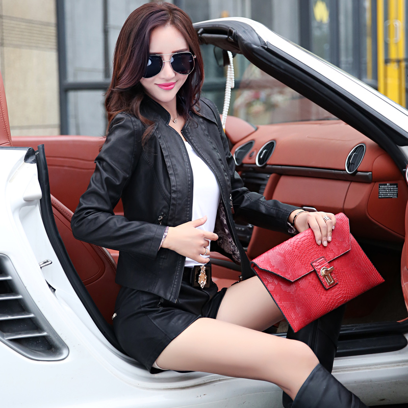 Otowa still 2015 fall and winter long sleeve korean version of slim was thin pu washed leather short paragraph motorcycle cool shirt female