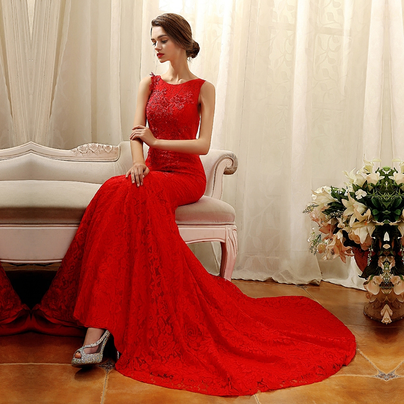 Oubalaiya 2016 new red fishtail wedding dress word shoulder bride toast clothing evening dress long section