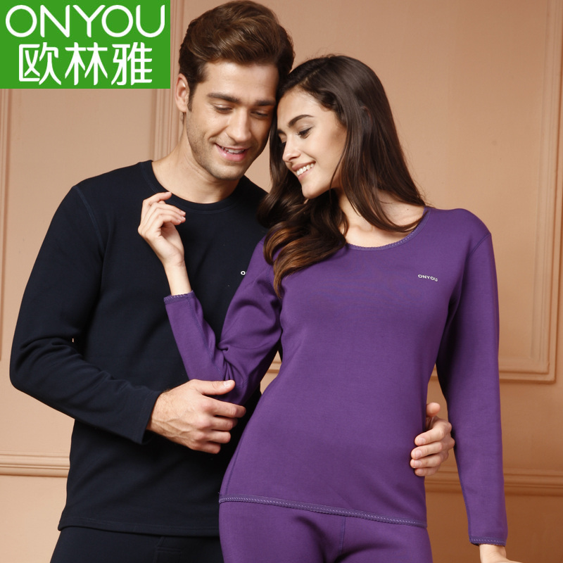 Oulin ya bamboo fiber plus thick velvet suit thermal underwear male/ms. couple autumn and winter round neck qiuyiqiuku