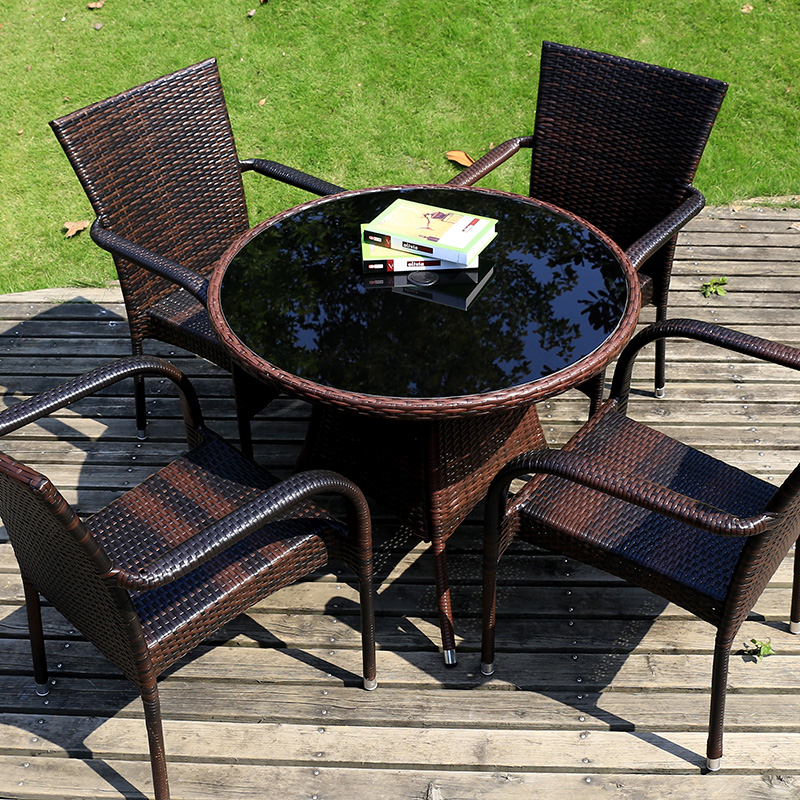 Outdoor furniture rattan chair three sets of patio garden outdoor leisure tea a few wrought iron tables and chairs balcony chairs wujiantao