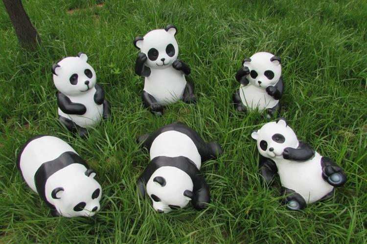 High Quality Get Quotations · Outdoor Garden Ornaments Simulation Giant Panda Forest  Villa Landscape Garden Glass Steel Engraving Plastic Decorations