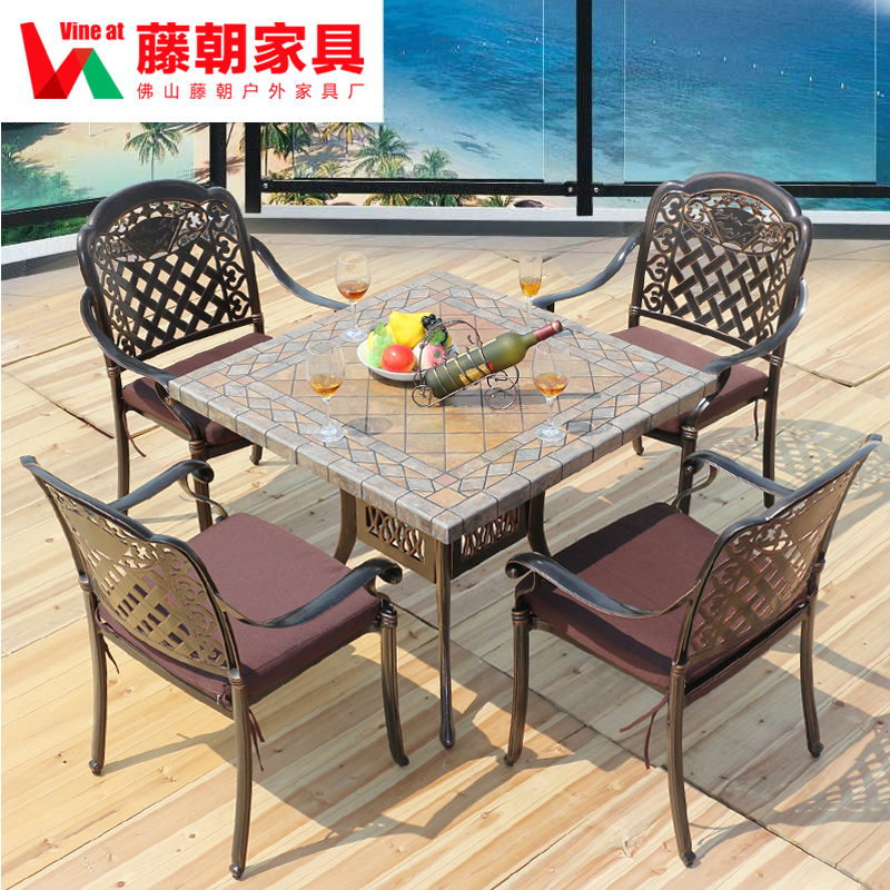 Outdoor tables and chairs wujiantao combination of cast aluminum tables and chairs wrought iron tables and chairs garden courtyard terrace leisure furniture