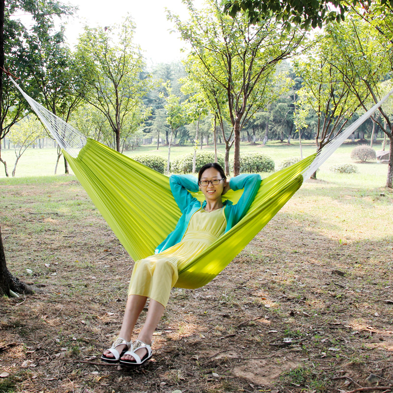 Outdoor ultralight single double parachute cloth hammock indoor swing dormitory bedroom leisure travel mountaineering camping