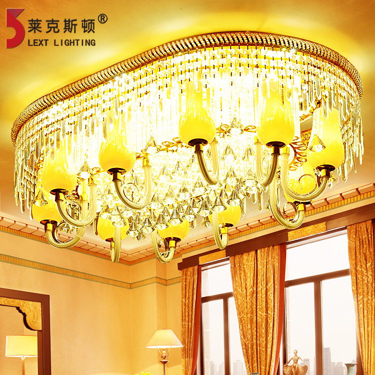 Oval led ceiling light rectangular crystal lamp living room european flower golden hall lighting fixtures 973