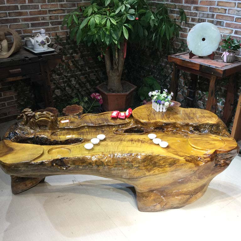 Overall root carving coffee table tea table tea sets wenge gong fu tea table tea sea natural carved gold phoebe