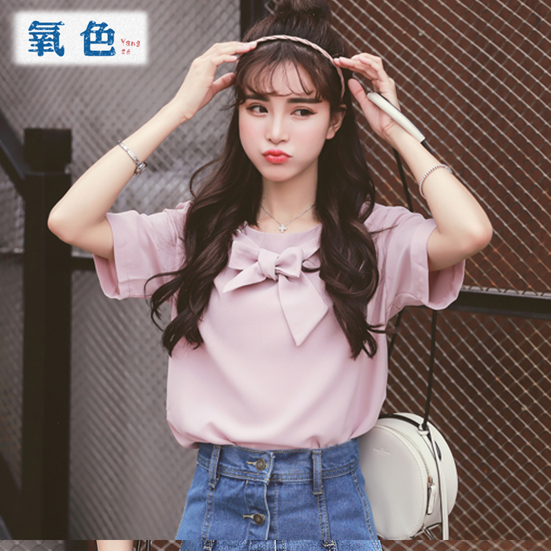 Oxygen color 2016 new korean version of sweet bow round neck short sleeve chiffon shirt female summer loose shirt blouse wild