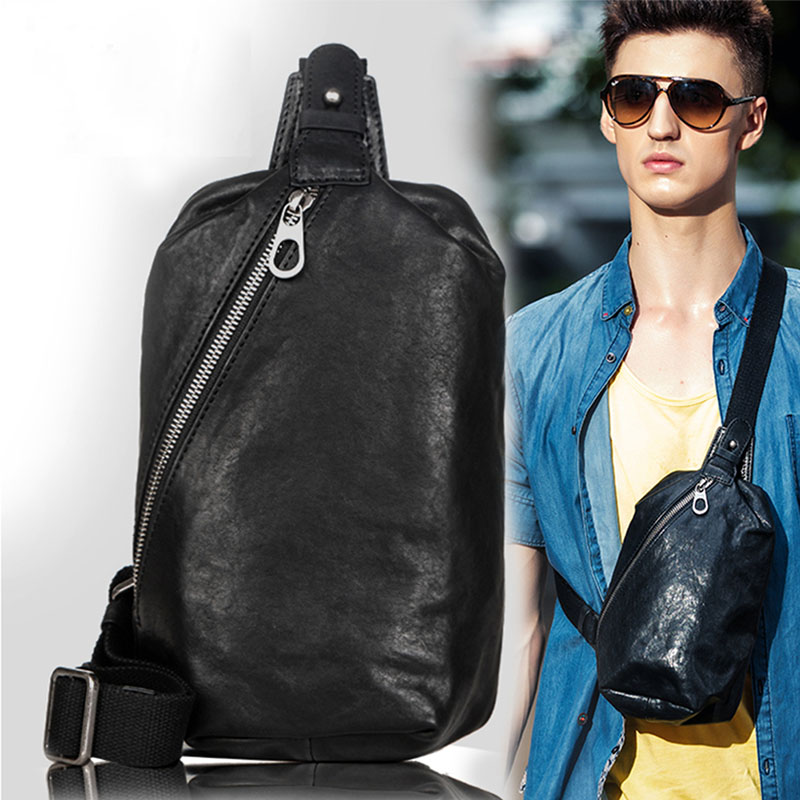 Pabin men chest bag korean version of messenger cowhide leather men's messenger bag man bag chest bag man bag leather chest bag man