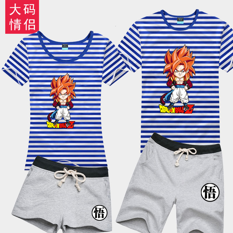 Pain yang dragon ball cartoon t-shirt cotton short sleeve shorts suit summer big yards sea striped shirt lovers student clothes