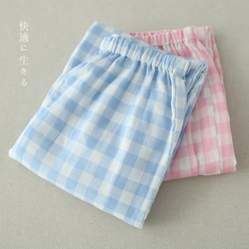 Pajamas female summer cotton gauze plaid cotton pajama trousers spring and autumn men's casual pajamas japanese home