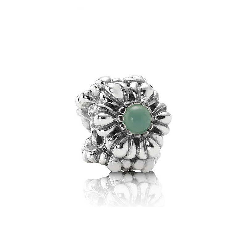 Pandora pandora bracelet female 925 sterling silver green crystal flower diy beaded beads 790580CH