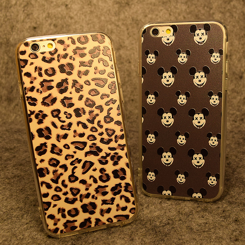 Paragraph dust plug mickey apple 5.5 iphone6plus whole package phone shell silicone soft shell relief slim leopard