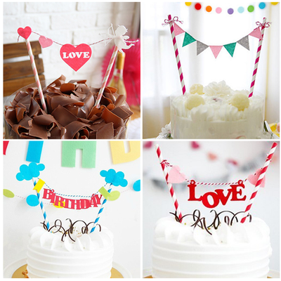 Party arranged a birthday party pennant flags children happy birthday cake decoration dessert station inserted card decoration supplies
