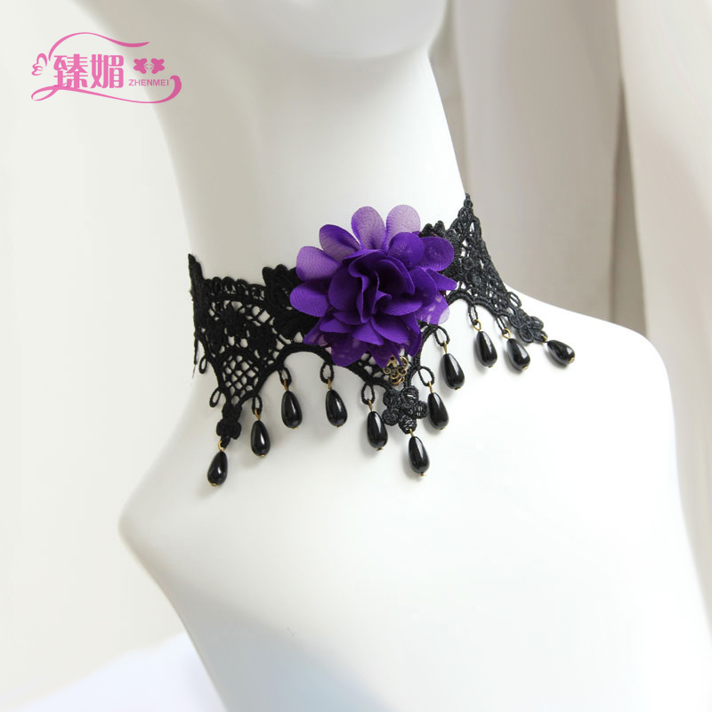 Party decoration sexy fashion lace choker necklace can be used with nightgown/pajamas/246