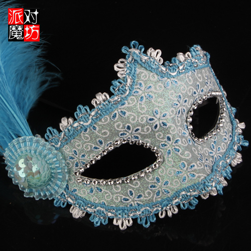 Party magic square christmas hat feather half face mask halloween mask masquerade mask