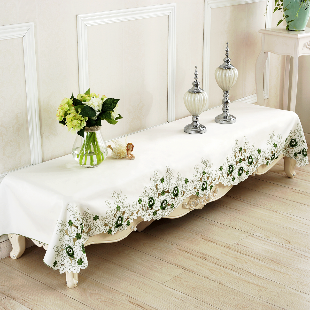 Pastoral coffee table cloth tablecloth tv cabinet cover cloth dust cover piano cover cloth towel embroidered openwork carved tv cabinet tv cabinet cover towel