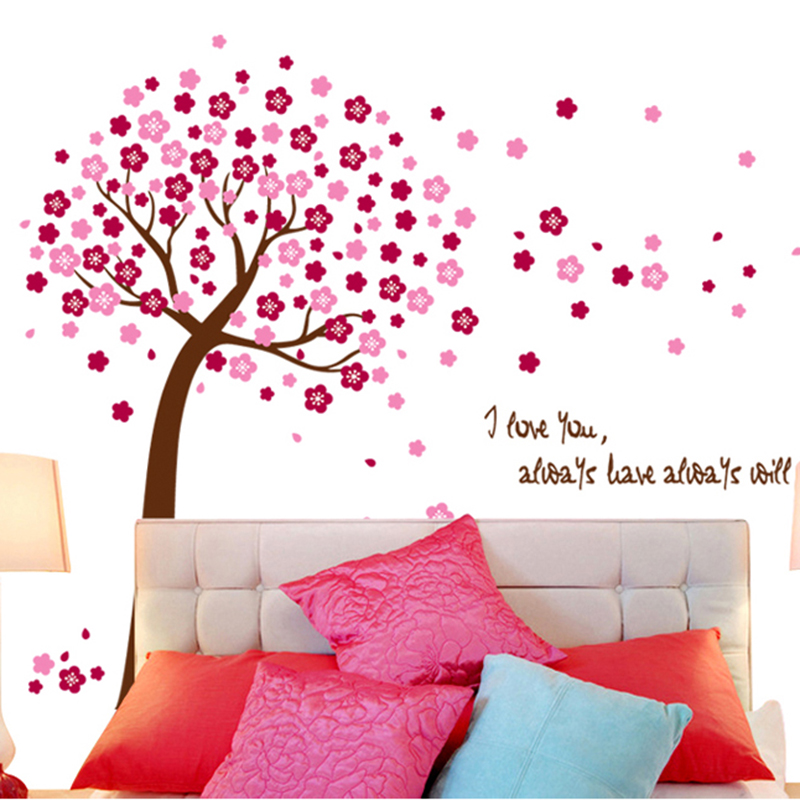 Peach tree removable wall stickers living room tv sofa background wall decoration romantic bedroom wall sticker