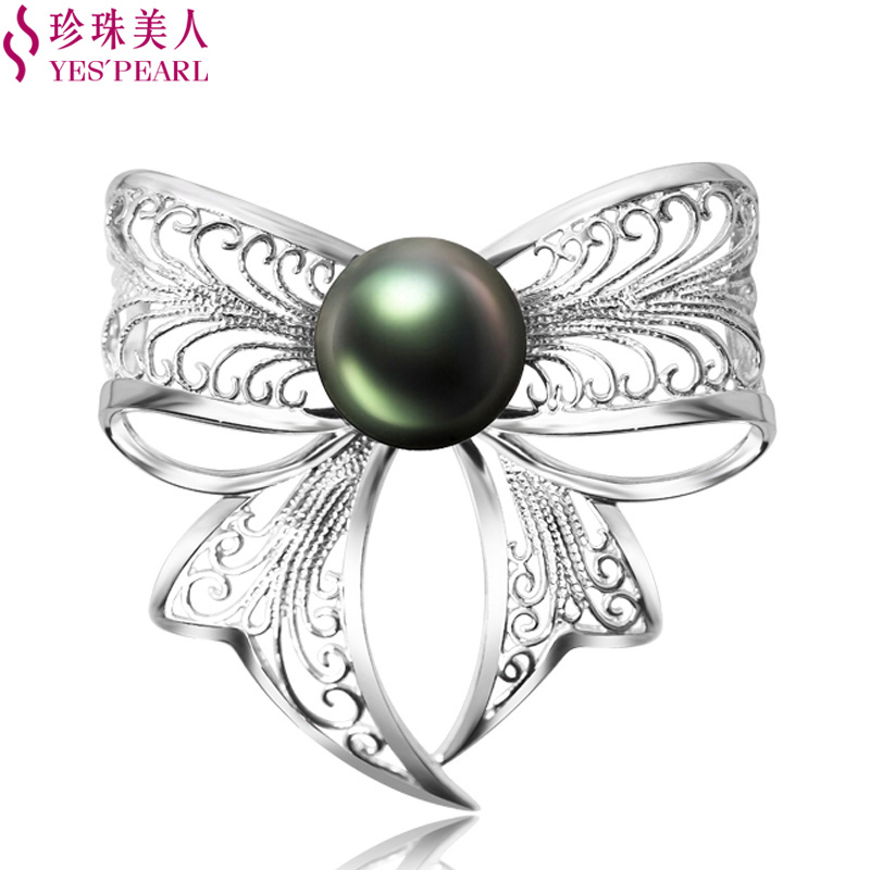 Pearl beauty 12-12. 5mm tahitian black pearl perfect circle s925 silver butterfly brooch pearl brooch