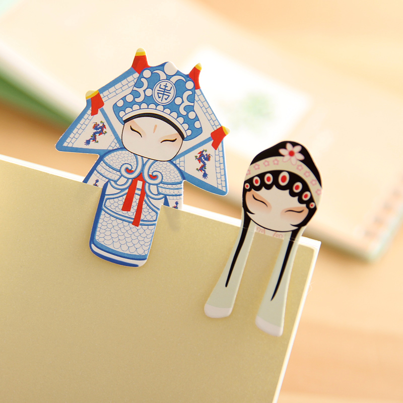Peking opera style drama mini bookmark creative stationery lovely classical chinese style paper bookmarks suit