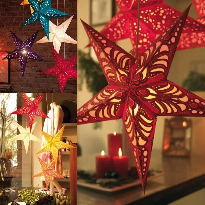 Pentagram pendant ornaments luminous three-dimensional laser pentagram star ceiling ornaments paper kindergarten bar storefront christmas stars