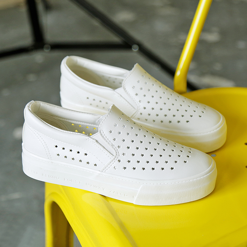 People canvas shoes women shoes summer hollow breathable mesh shoes korean version of white shoes student shoes thick crust muffin a pedal lazy shoes