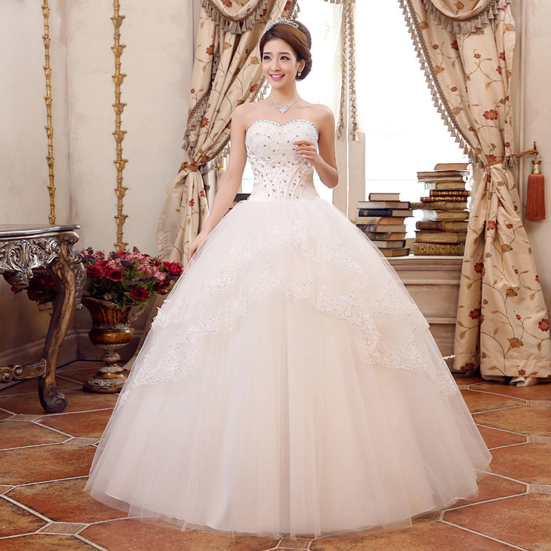 People dress clothes 2015 new wedding dress bra korean waist pregnant princess married yarn lace wedding dress was thin