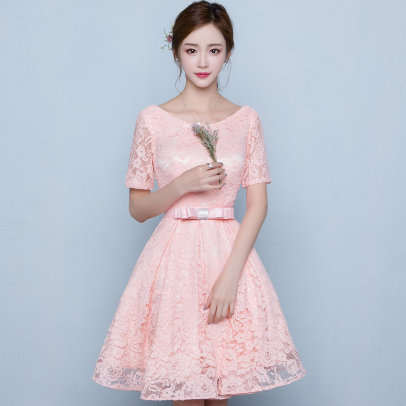People dress clothes 2016 new summer fashion slim was thin dress banquet evening dress pink bridesmaid dresses
