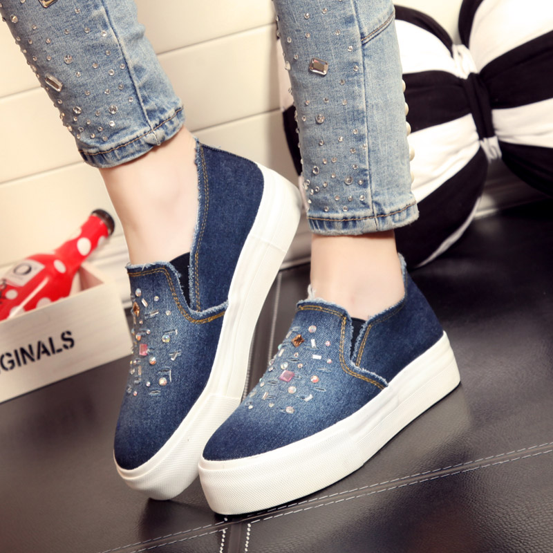People in this 2016 spring women canvas shoes korean version of cowboy diamond thick crust muffin shoes loafers shoes casual shoes tide