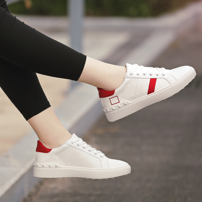 People in this autumn shoes white shoes female korean leather sports shoes canvas shoes lace spell color shoes flat shoes casual shoes student