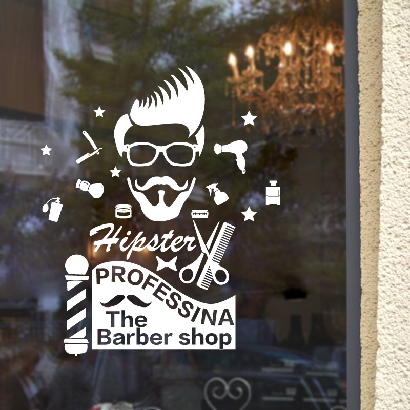 Get Quotations · Barber Shop Glass Door Stickers Window Stickers Klimts  Business In The Beauty Salon Styling Hair Design