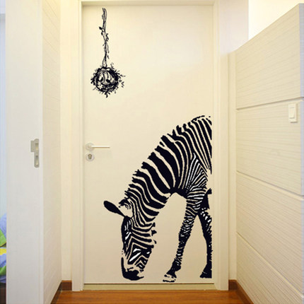 Personalized zebra wall stickers entrance hallway living room bedroom wall stickers creative fashion ktv bar wall stickers