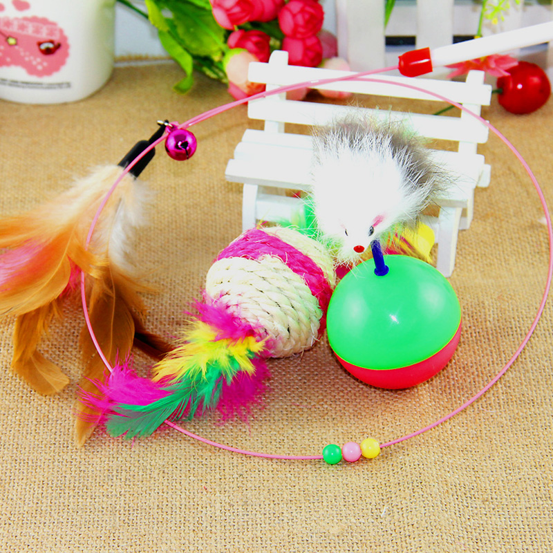 Pet cat funny cat toy wand toys combination + mouse does not fall + pet cat toy ball of sisal cat scratch