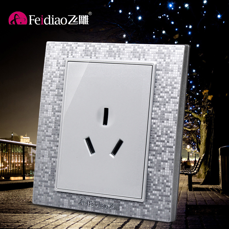 [Phantom silver] flying birds switch socket 86 type three holes 16a air conditioning outlet panel power