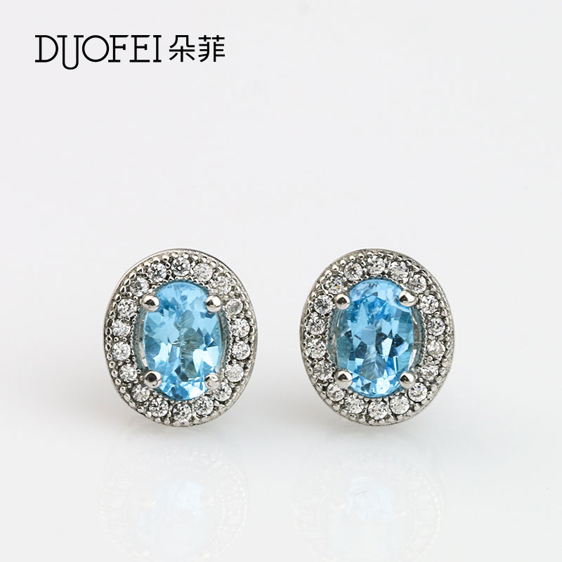 Philippine flowers fashion female models 925 silver earrings inlaid multicolored topaz topaz earrings japan and south korea female models accessories
