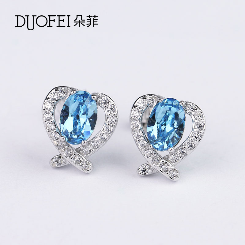 Philippine flowers fashion female models s925 silver stud earrings japan and south korea austrian crystal earrings silver jewelry earrings earrings gift