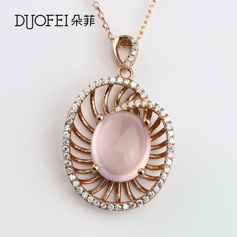 Philippine flowers korean fashion female models 925 silver pink crystal rose quartz pendant female models wei simple beauty of autumn and winter accessories