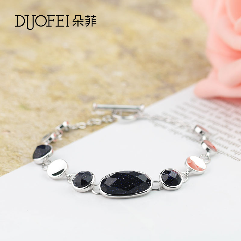 Philippine flowers korean version of the elegant fashion female models fashion 925 silver female minimalist temperament purple stone inlay bracelet