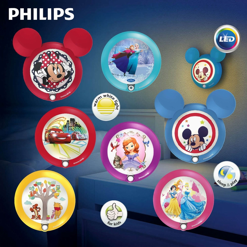 Philips led sensor night light children's room bedroom special offerç±³borderies car princess disney mickey pooh