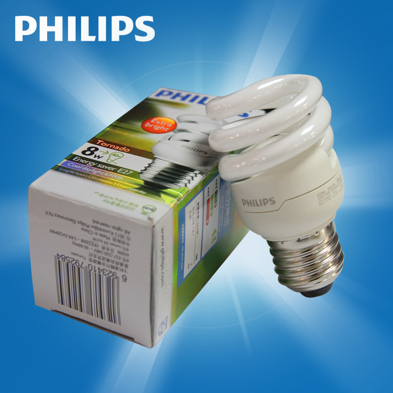 Philips spiral energy saving light bulb super bright high power size mouth 5w8w12w15w20w23w yellowish white