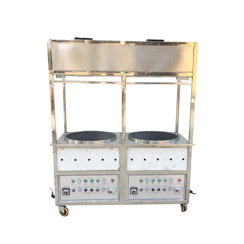 Photosynthetic double pot sugar fried chestnut roasting machine fried chestnut machine mobile with casters environmental tobacco smoke automatic fried chestnut Machine
