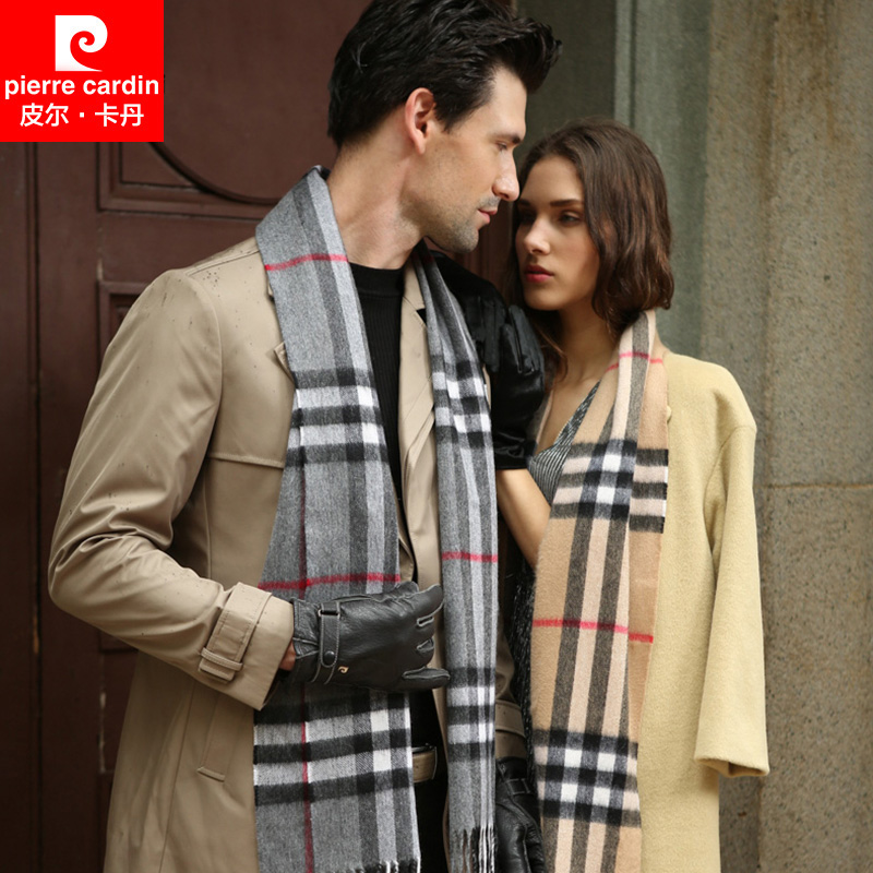 Pierre cardin winter classic plaid fringed cashmere scarf shawl scarf men and women couple thick warm scarf